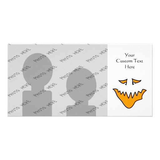 Scary Face. Monster Grin in Orange on White Personalized Photo Card