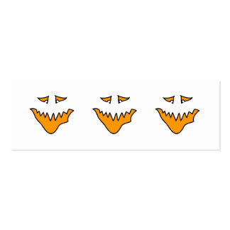 Scary Face. Monster Grin in Orange. Pack Of Skinny Business Cards