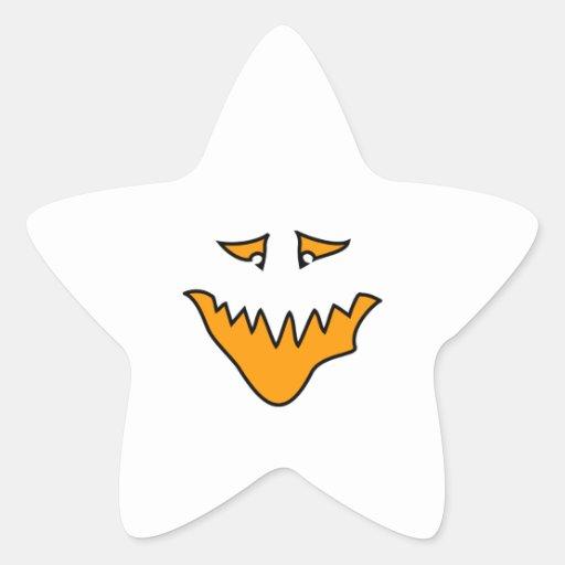 Scary Face. Monster Grin in Orange. Star Sticker