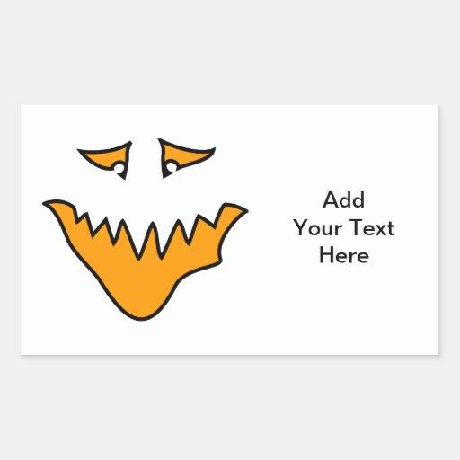 Scary Face. Monster Grin in Orange. Rectangular Sticker