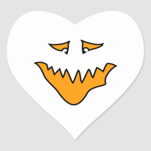 Scary Face. Monster Grin in Orange. Sticker