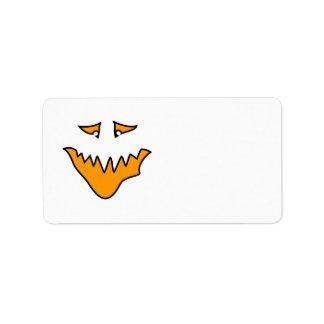 Scary Face. Orange Monster Grin. Label