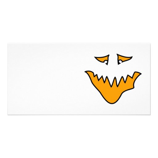 Scary Face. Orange Monster Grin. Customized Photo Card