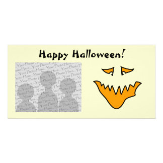 Scary Face Orange Monster Grin Photo Greeting Card