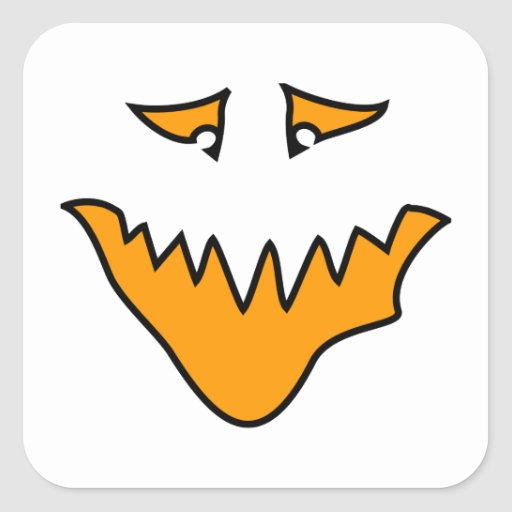 Scary Face. Orange Monster Grin. Stickers