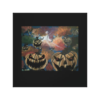 Scary Faces/Halloween Tree Canvas Print