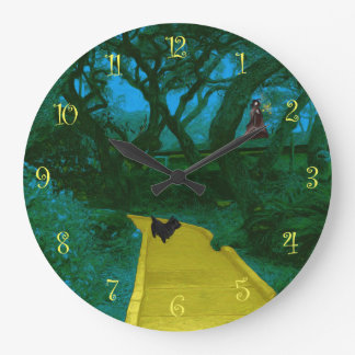 Scary Forest Yellow Road Large Clock