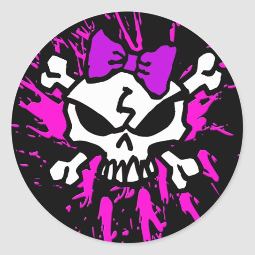 SCARY GIRL SKULL WITH SPLATTERS ROUND STICKERS