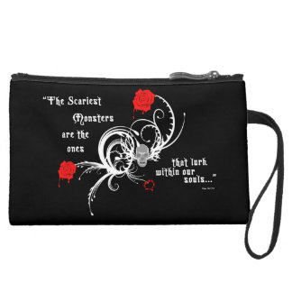Scary Gothic Edgar Allen Poe Quote Mini Clutch Wristlet