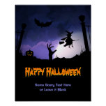 Scary Graveyard - Pumpkin Witch Happy Halloween