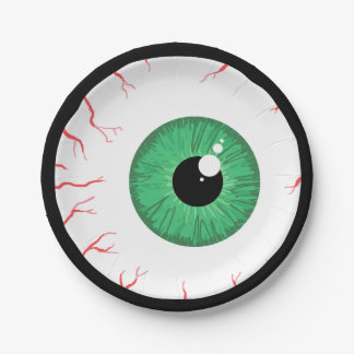 Scary green eyeball halloween paper plates