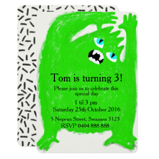 Scary Green Monster Birthday Party Invitation