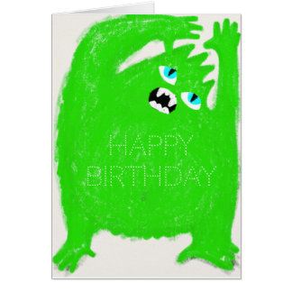 Scary Green Monster Customisable Greeting Card