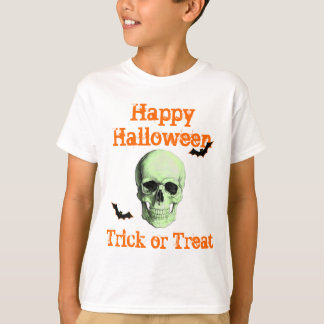 scary green skull trick or treat tshirt