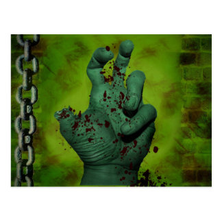 Scary Green Zombie Hand Postcard