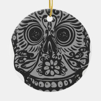 Scary Grey Sugar Skull Halloween Head Round Ceramic Decoration