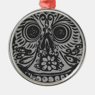 Scary Grey Sugar Skull Halloween Head Silver-Colored Round Decoration