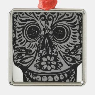 Scary Grey Sugar Skull Halloween Head Silver-Colored Square Decoration