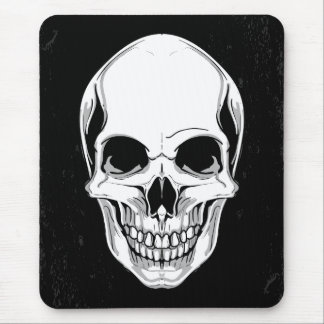 Scary Grinning Skull On Grunge Background Mouse Mat