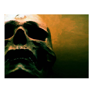Scary grunge cool skull postcard