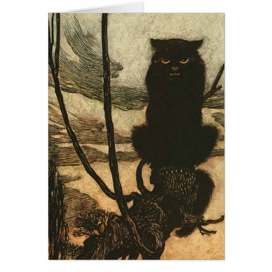 Scary Halloween Black Cat Vintage Rackham Card