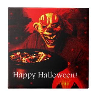 Scary Halloween Clown Design Ceramic Tile