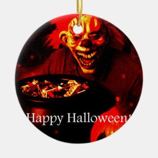 Scary Halloween Clown Design Round Ceramic Decoration