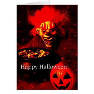 Scary Halloween Clown Design Greeting Card