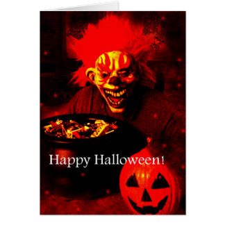 Scary Halloween Clown Design Greeting Cards