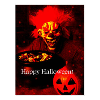 Scary Halloween Clown Design Postcard