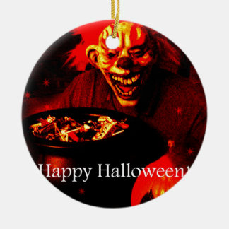 Scary Halloween Clown Design Round Ceramic Decoration