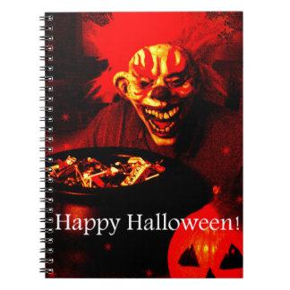 Scary Halloween Clown Design Spiral Notebooks