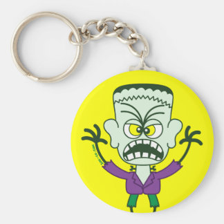 Scary Halloween Frankenstein Emoticon Basic Round Button Key Ring