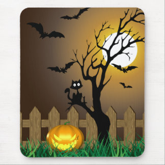 Scary Halloween Garden Scene - Mousepad