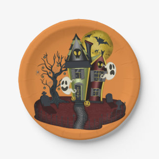 Scary Halloween Haunted House with ghost 7 Inch Paper Plate