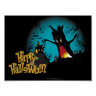 Scary Halloween Haunted house with tree Poster