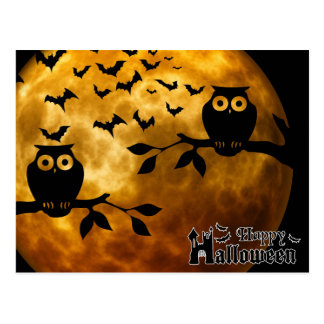 Scary Halloween Night with Owls Postcard