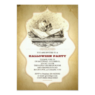 scary Halloween party broken scull invitations