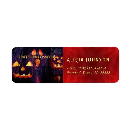 Scary Halloween party jack o lanterns red purple Return Address Label