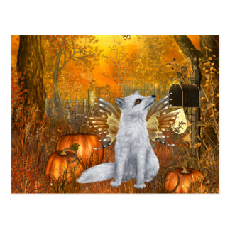 Scary Halloween Postcard with Fairy Fox
