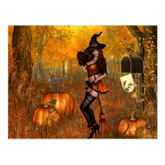 Scary Halloween Postcard with Witch
