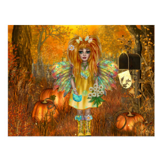 Scary Halloween Postcard with Woodland Fairy