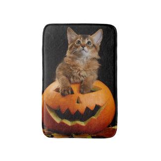 Scary Halloween Pumpkin And Somali Kitten Bath Mat
