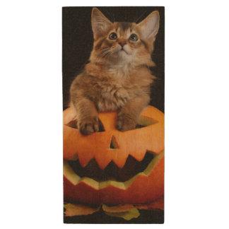 Scary Halloween Pumpkin And Somali Kitten Wood USB 2.0 Flash Drive