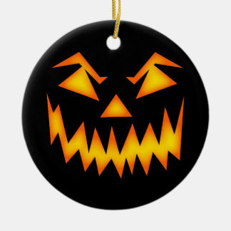 Scary Halloween Pumpkin Face Christmas Ornament