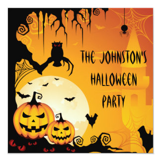 Scary Halloween Pumpkins and Full Moon 13 Cm X 13 Cm Square Invitation Card