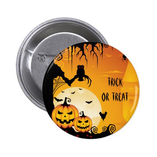 Scary Halloween Pumpkins and Full Moon Button