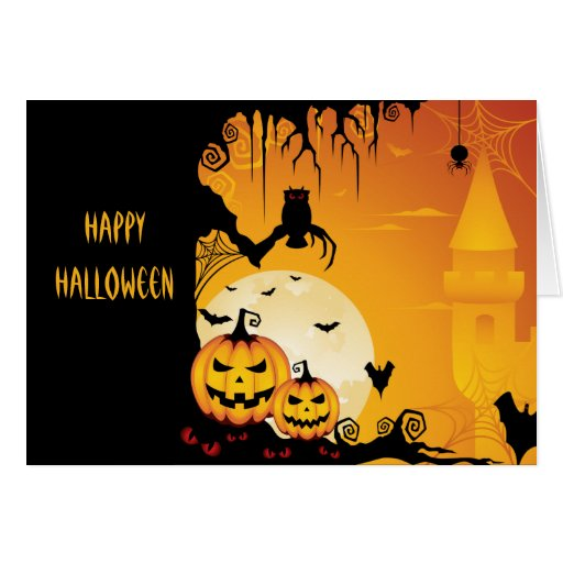 Scary Halloween Pumpkins and Full Moon Card