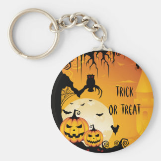 Scary Halloween Pumpkins and Full Moon Key Ring