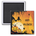 Scary Halloween Pumpkins and Full Moon Square Magnet